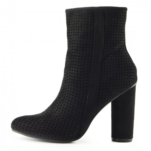 Womens Black Heeled Microfiber Ankle Side Zip Up  Boots