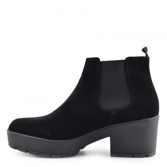 Womens Black Suede Chunky Platform Sole Block Heel Chelsea Ankle Boots