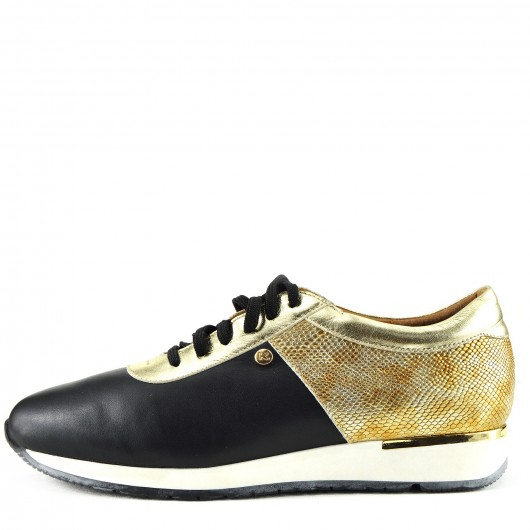 Womens Metallic Black - Gold Lace Up Sport Leather Casual Shoes