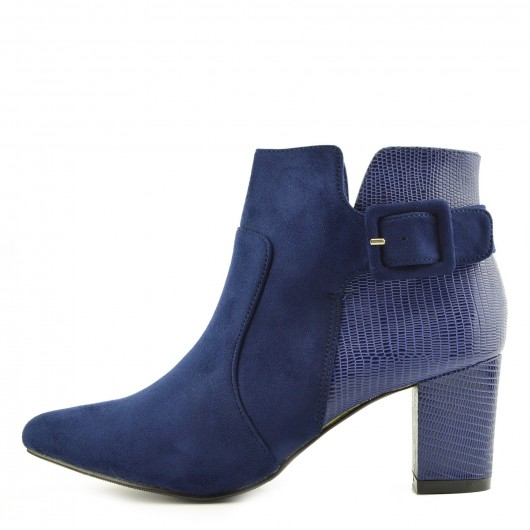 Womens Royal Blue Mid Block Heel Biker Chelsea Ankle Boots Zip Up Shoes