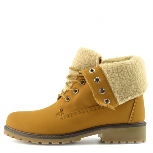 Womens Camel Hiker Ankle Boots Faux Fur Lined Midi Boots Winter Warm Grip Sole