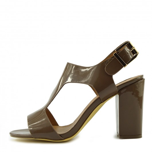 Block Heel Ankle Strap Taupe Patent Sandals